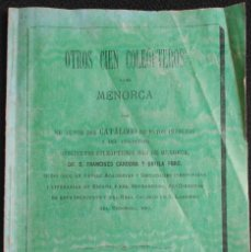 Libros antiguos: MENORCA. CATÁLOGO DE COLEÓPTEROS DEL PRESTIGIOSO ERUDITO D. FRANCISCO CARDONA Y ORFILA.. Lote 124939891