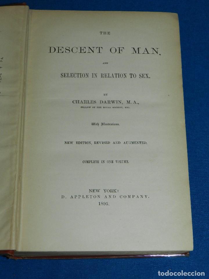 (MF) CHARLES DARWIN - THE DESCENT OF MAN AND SELECTION IN RELATION TO SEX , NEW YORK 1895 (Libros Antiguos, Raros y Curiosos - Ciencias, Manuales y Oficios - Biología y Botánica)