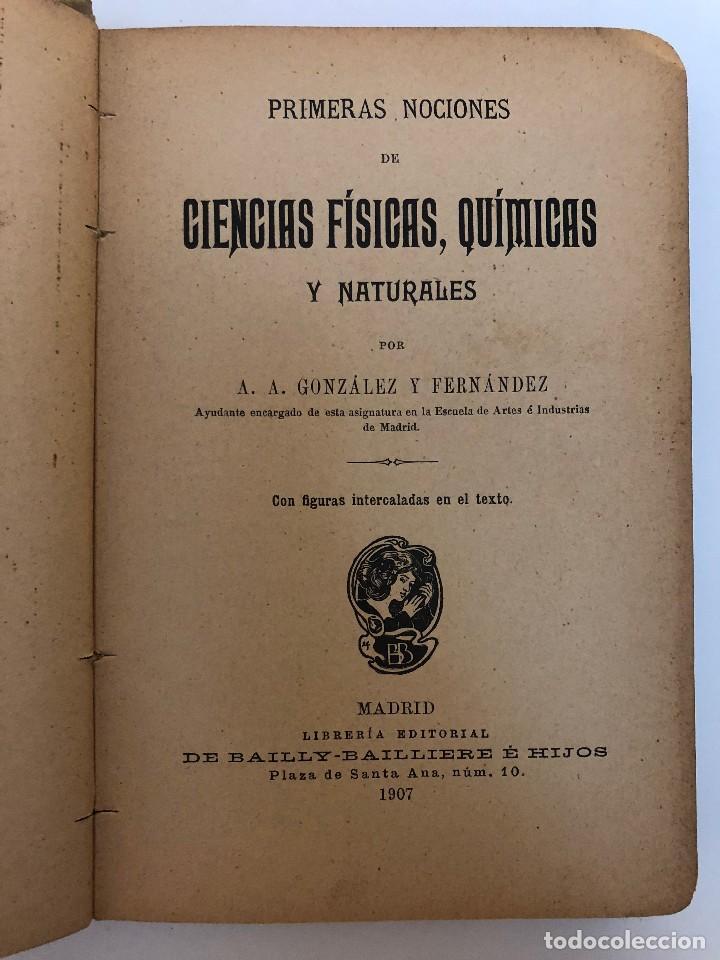 PRIMERAS NOCIONES DE CIENCIAS FÍSICAS, QUÍMICAS Y NATURALES. 1907 (Libros Antiguos, Raros y Curiosos - Ciencias, Manuales y Oficios - Física, Química y Matemáticas)