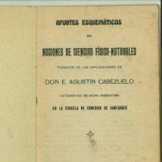Libros antiguos: APUNTES ESQUEMÁTICOS DE NOCIONES DE CIENCIAS FÍSICAS-NATURALES. E. AGUSTÍN CABEZUELO. Lote 127724591