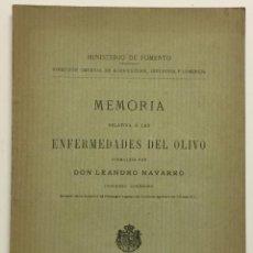 Libros antiguos: MEMORIA RELATIVA A LAS ENFERMEDADES DEL OLIVO. - NAVARRO, LEANDRO. MADRID, 1898.. Lote 123222798