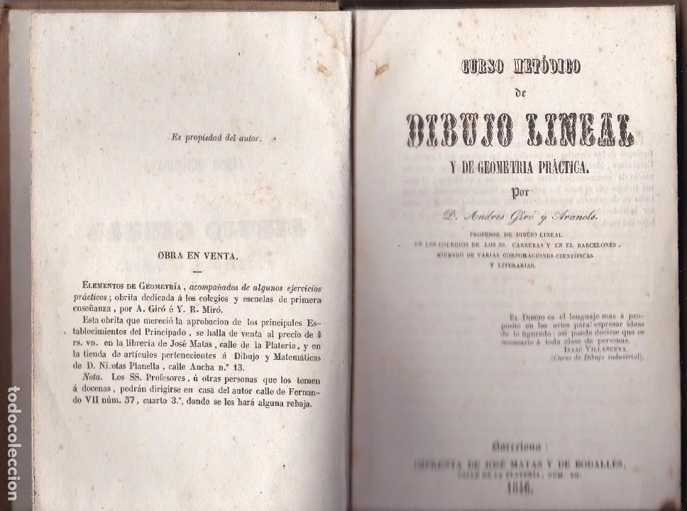 DIBUJO LINEAL Y DE GEOMETRIA PRÁCTICA POR ANDRÉS GIRÓ BARCELONA 1846 (Libros Antiguos, Raros y Curiosos - Ciencias, Manuales y Oficios - Física, Química y Matemáticas)