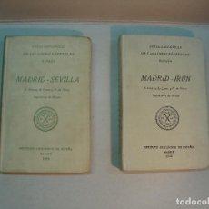 Libros antiguos: GUÍAS GEOLÓGICAS DE LAS LÍNEAS FÉRREAS DE ESPAÑA: MADRID-SEVILLA (1926) // MADRÍD-IRÚN (1926). Lote 129598887