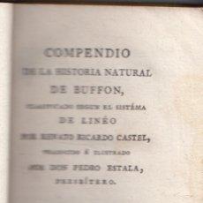 Libros antiguos: COMPENDIO DE LA HISTORIA NATURAL DE BUFFON. TOMO XIV. MADRID, 1804. CON TRES GRABADOS. Lote 131517742