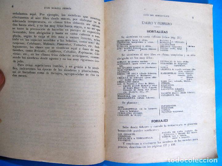 Libros antiguos: GUÍA DEL HORTICULTOR. NOCIONES PARA EL CULTIVO DE HORTALIZAS Y FORRAJES. JUAN NONELL FEBRÉS, S/F. - Foto 3 - 131990966
