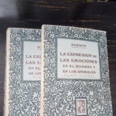 Libros antiguos: LA EXPRESIÓN DE LAS EMOCIONES EN EL HOMBRE Y EN LOS ANIMALES. DARWIN. PROMETEO. 2 VOL.. Lote 131997774