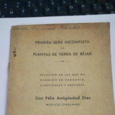 Libros antiguos: PRIMERA SERIE INCOMPLETA DE PLANTAS DE BEJAR. SALAMANCA. 1932.FELIX DIAZ ANTIGÜEDAD. 86PG.20CM.MUY R. Lote 133671371