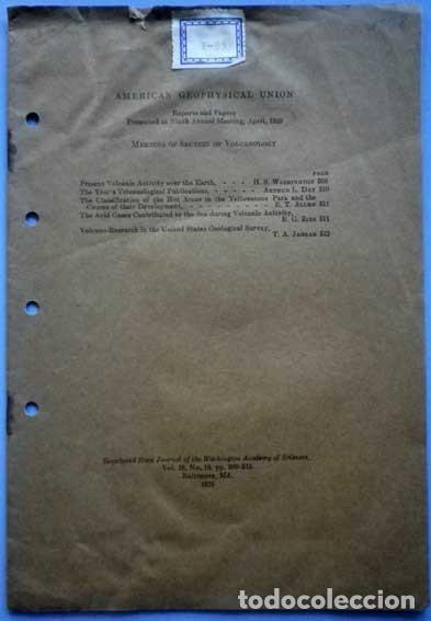 AMERICAN GEOPHYSICAL UNION MEETING OF SECTION OF VOLCANOLOGY 1928 (Libros Antiguos, Raros y Curiosos - Ciencias, Manuales y Oficios - Paleontología y Geología)