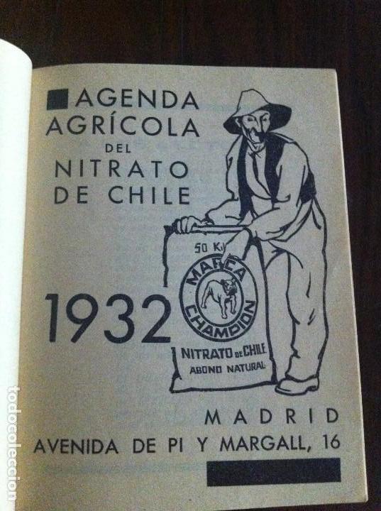 Libros antiguos: Agenda Agrícola Nitrato de Chile. Año 1932. Original - Foto 2 - 135624866