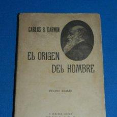 Libros antiguos: (MF) CARLOS R DARWIN - EL ORIGEN DEL HOMBRE , LA SELECCION NATURAL Y LA SEXUAL, F SEMPERE. Lote 135705279