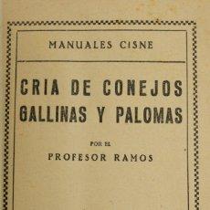 Libros antiguos: CRÍA DE CONEJOS, GALLINAS Y PALOMAS. - RAMOS, PROFESOR.. Lote 123235000