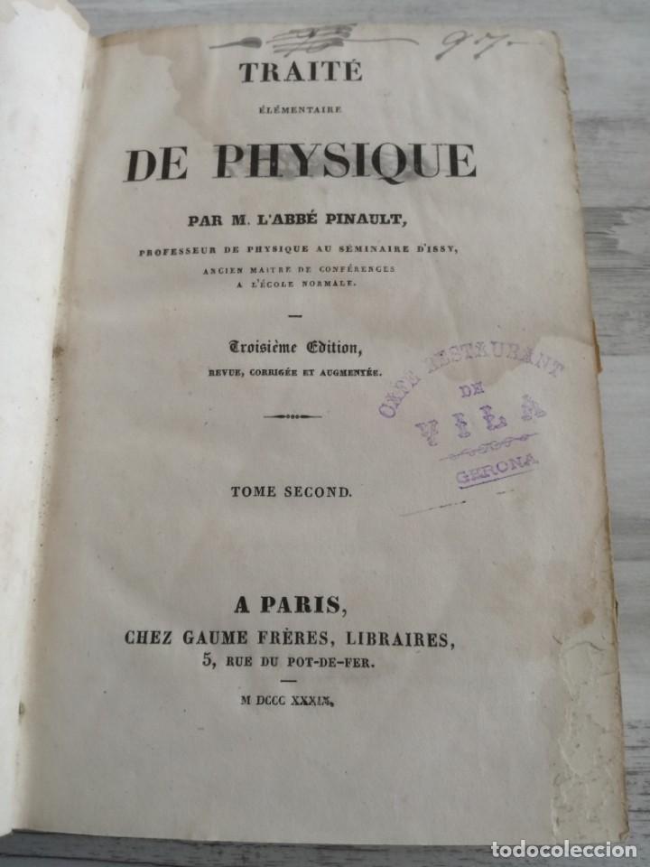 Libros antiguos: TRATADO DE FÍSICA - TRAITÉ DE PHYSIQUE - PINAULT (TOMO 2, 1839), CON LÁMINAS DESPLEGABLES - Foto 5 - 138000438