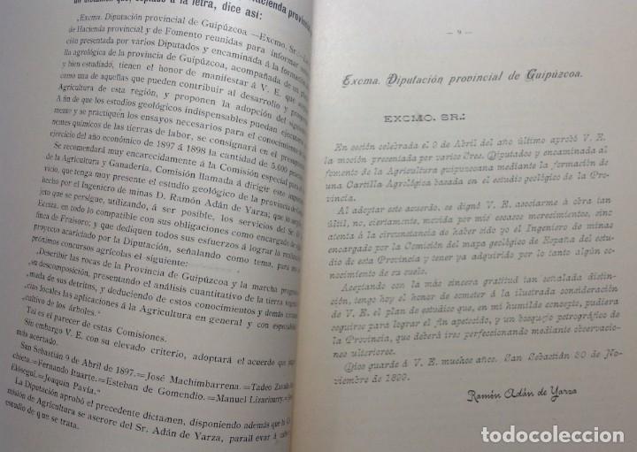 Libros antiguos: 1900 GUIPUZCOA * GEOLOGIA agrícola * BOSQUEJO PETROGRÁFICO * GRAN MAPA A COLOR - Foto 4 - 139586258