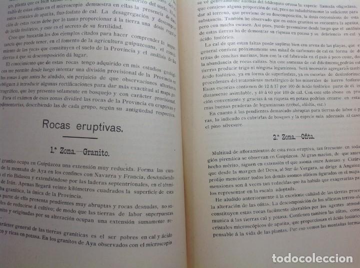 Libros antiguos: 1900 GUIPUZCOA * GEOLOGIA agrícola * BOSQUEJO PETROGRÁFICO * GRAN MAPA A COLOR - Foto 6 - 139586258