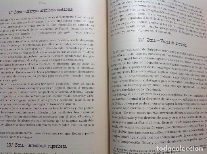 Libros antiguos: 1900 GUIPUZCOA * GEOLOGIA agrícola * BOSQUEJO PETROGRÁFICO * GRAN MAPA A COLOR - Foto 7 - 139586258