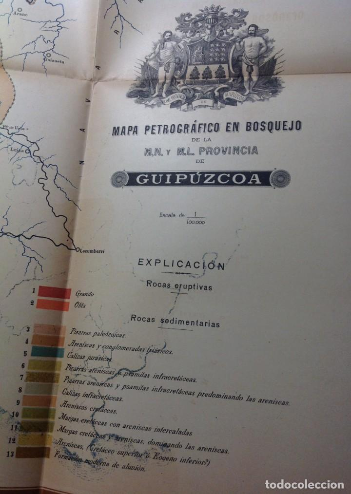 Libros antiguos: 1900 GUIPUZCOA * GEOLOGIA agrícola * BOSQUEJO PETROGRÁFICO * GRAN MAPA A COLOR - Foto 10 - 139586258