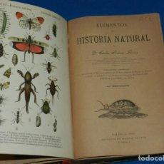 Libros antiguos: (MF) EMILIO RIBERA GOMEZ - ELEMENTOS DE HISTORIA NATURAL , VALENCIA 1893 IMP. MANUEL ALUFRE. Lote 141311922