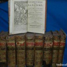 Libros antiguos: (MF) LES SPECTACLE DE LA NATURE OU ENTRETIENS SUR LES PARTICULARITES DE L'HISTOIRE NATURELLE 1768. Lote 148465402