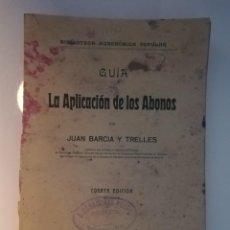 Libros antiguos: LA APLICACIÓN DE LOS ABONOS. BIBLIOTECA AGRONÓMICA POPULAR. Lote 149548494