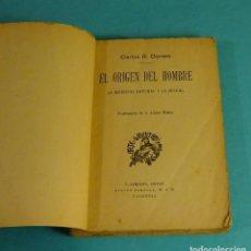 Libros antiguos: CARLOS R. DARWIN. EL ORIGEN DEL HOMBRE. LA SELECCIÓN NATURAL Y LA SEXUAL. F. SEMPERE, EDITOR. Lote 151904202