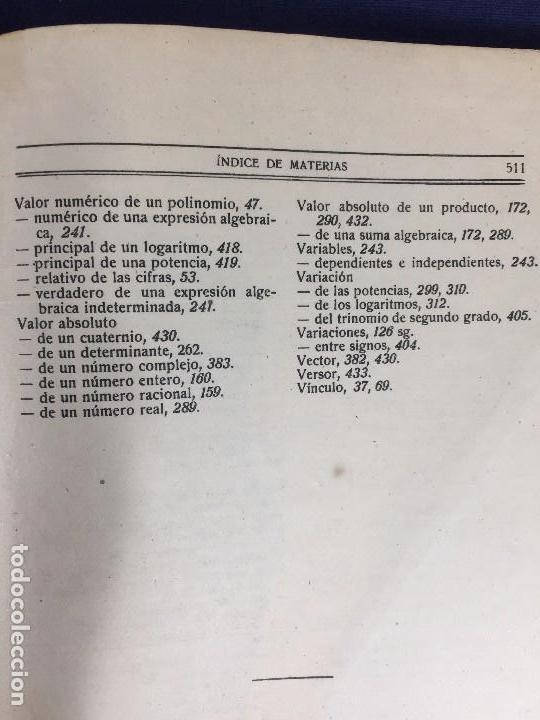 Libros antiguos: ANÁLISIS ALGEBRAICO REY PASTOR - Foto 17 - 153185726