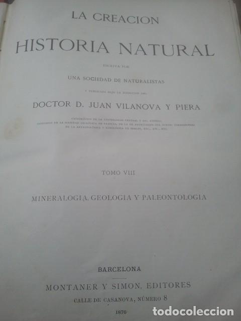 Libros antiguos: LA CREACIÓN - HISTORIA NATURAL - JUAN VILANOVA - TOMO VIII - MINERALOGÍA, GEOLOGÍA Y PALEONTOLOGÍA - Foto 2 - 153848758