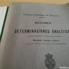 Libros antiguos: LIBRO RESUMEN DE DETERMINACIONES ANALÍTICAS. ESTACIÓN ENOLÓGICA DE REQUENA (VALENCIA). Lote 154939565