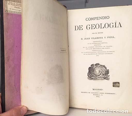 Libros antiguos: Compendio de Geología (M., 1872 Vilanova y Piera) Láminas grabadas plegadas (Fósiles, Geognosia, Geo - Foto 5 - 155544450