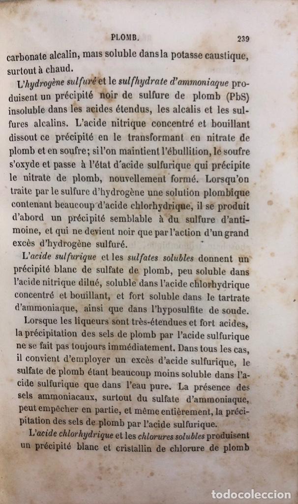 Libros antiguos: PRECIS DANALYSE CHIMIQUE QUALITATIVE. CH. GERHARDT ET G. CHANGEL . PARIS 1862. LIBRO EN FRANCES. - Foto 4 - 156493674