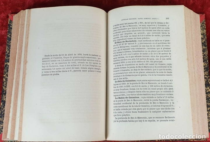 Libros antiguos: DERROTERO DE LAS ISLAS ANTILLAS. DIRECCIÓN DE HIDROGRAFÍA. VVAA. 2 VOL 1865/1877. - Foto 3 - 157352854