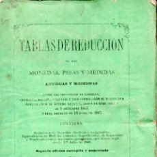 Libros antiguos: VICENTE VIDALÓ : TABLAS DE REDUCCIÓN DE LAS MONEDAS, PESAS Y MEDIDAS (GINESTA, 1868). Lote 161823994