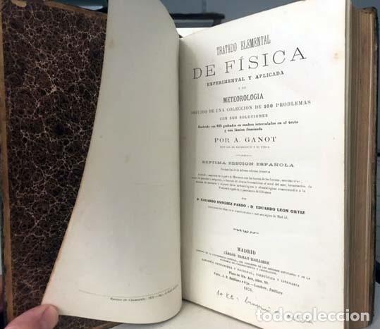 Libros antiguos: Física experimental y aplicada, y Meteorología. (Ganot, 1876) Plena piel. 935 grabados en madera. - Foto 2 - 162526370