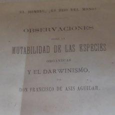 Libros antiguos: OBSERVACIONES MUTABILIDAD DE LAS ESPECIES FCO DE ASIS AGUILAR .FACSIMIL. Lote 162544822
