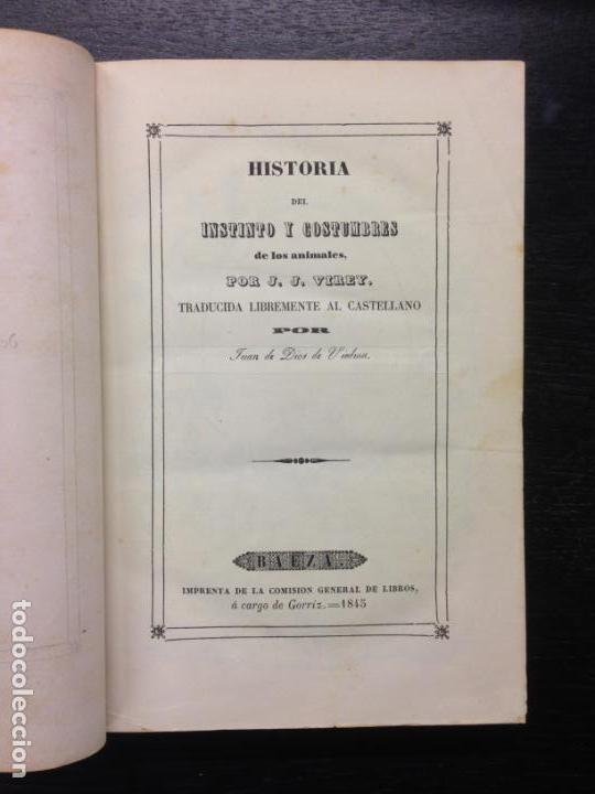 HISTORIA DEL INSTINTO Y COSTUMBRES DE LOS ANIMALES, VIREY, J.J., 1845 (TOMO 2) (Libros Antiguos, Raros y Curiosos - Ciencias, Manuales y Oficios - Biología y Botánica)
