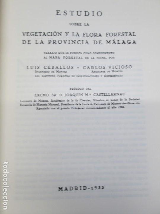 Libros antiguos: ESTUDIO SOBRE LA VEGETACION Y LA FLORA FORESTAL DE LA PROVINCIA DE MALAGA. LUIS CABALLOS. 1933 - Foto 7 - 164957490