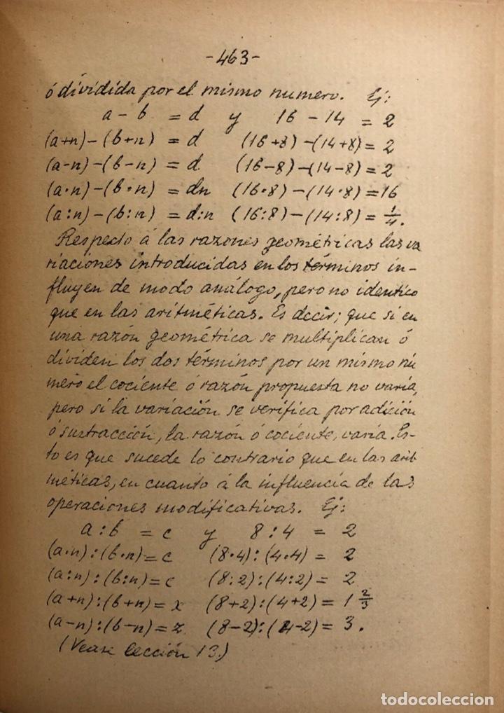 Libros antiguos: LECCIONES DE ARITMETICA Y ALGEBRA. CISTOBAL FALCON. CUADERNO Nº2. SEVILLA, 1911. ESCRITO A MANO. - Foto 3 - 165176074