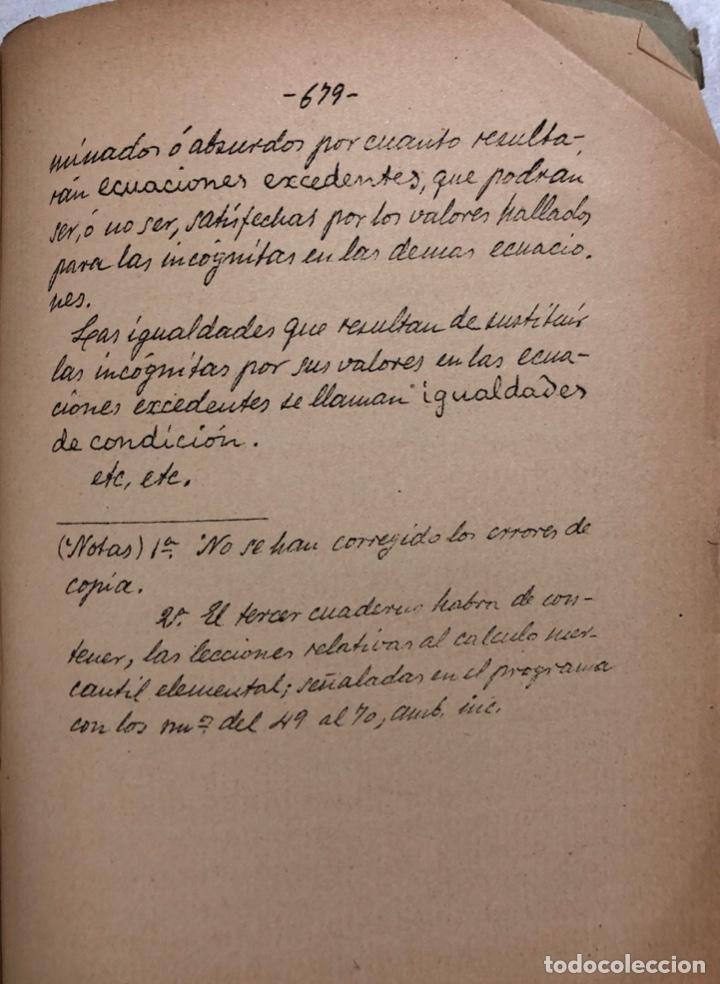 Libros antiguos: LECCIONES DE ARITMETICA Y ALGEBRA. CISTOBAL FALCON. CUADERNO Nº2. SEVILLA, 1911. ESCRITO A MANO. - Foto 5 - 165176074