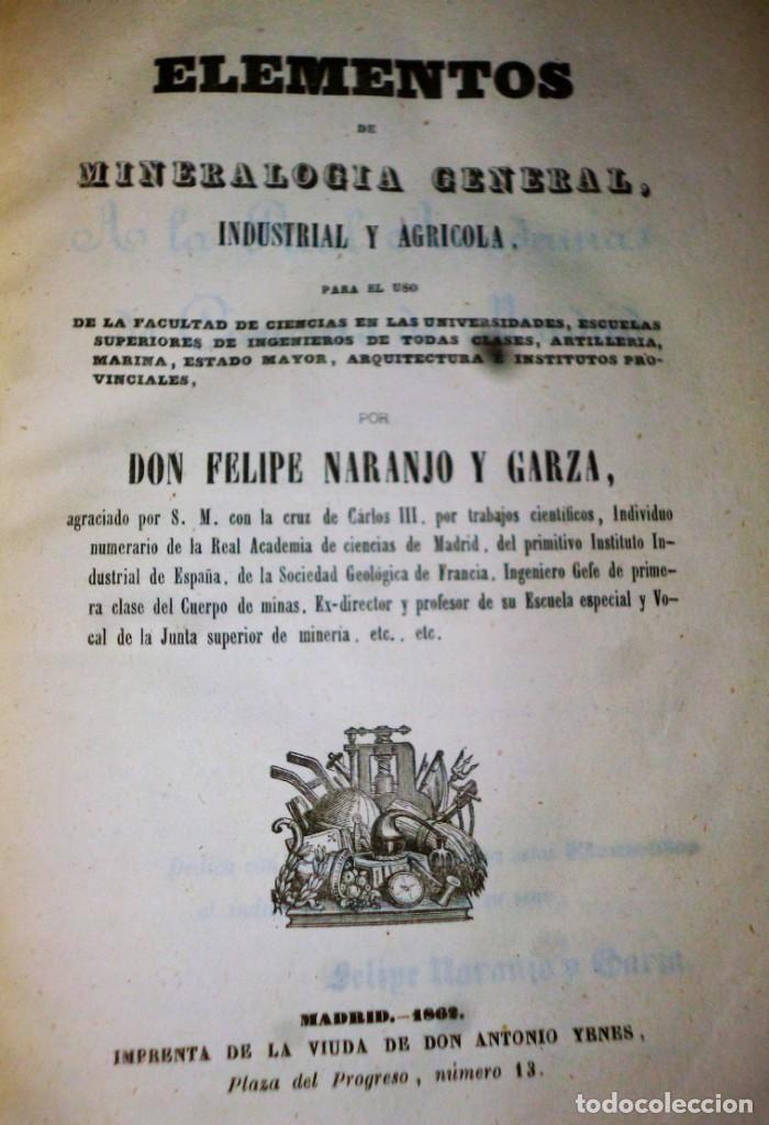 ELEMENTOS DE MINERALOGÍA GENERAL, INDUSTRIAL Y AGRÍCOLA (Libros Antiguos, Raros y Curiosos - Ciencias, Manuales y Oficios - Paleontología y Geología)