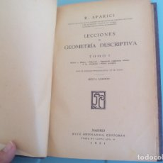 Libros antiguos: LECCIONES DE GEOMETRIA DESCRIPTIVA. R. APARICI. TOMO I. 1931. RUIZ HERMANOS EDITORES. Lote 167870852