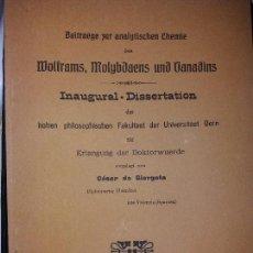 Libros antiguos: CESAR GIORGETA TINTAS SAMAS QUÍMICO CONFERENCIA INAUGURAL EN ALEMÁN UNIVERSIDAD BERN 1911 MIRABIET. Lote 168432100