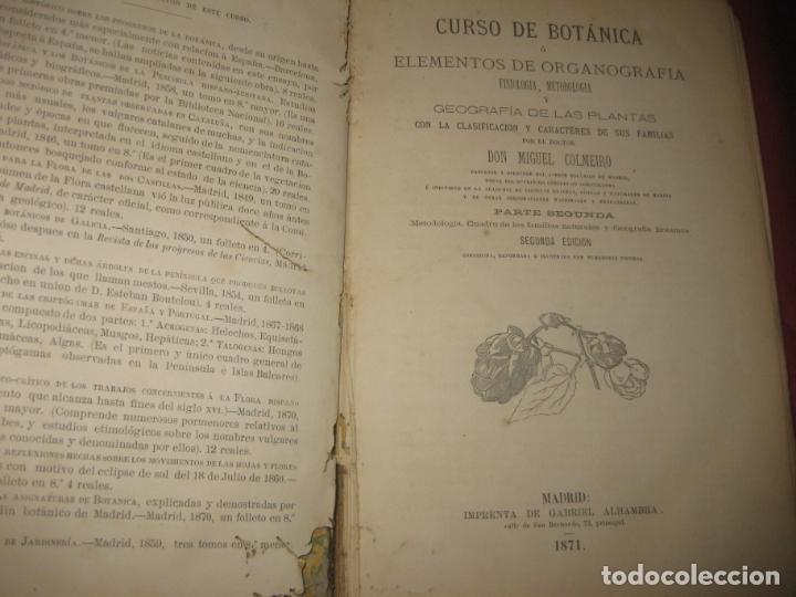 Libros antiguos: CURSO DE BOTANICA O ELEMENTOS DE ORGANOGRAFIA .... MIGUEL COLMEIRO. IMP. GABRIEL ALHAMBRA 1871. 2 V. - Foto 2 - 168779992