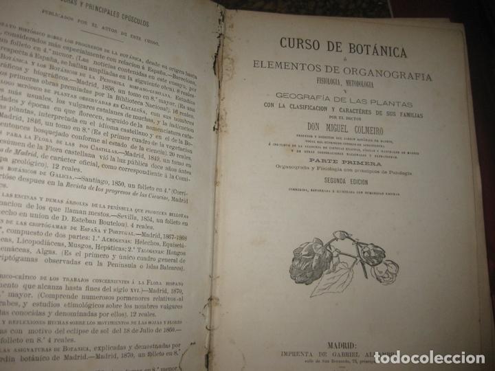 Libros antiguos: CURSO DE BOTANICA O ELEMENTOS DE ORGANOGRAFIA .... MIGUEL COLMEIRO. IMP. GABRIEL ALHAMBRA 1871. 2 V. - Foto 3 - 168779992