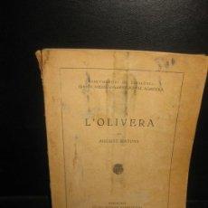 Libros antiguos: L'OLIVERA PER AGUSTI MATONS. MANCOMUNITAT DE CATALUNYA. ESCOLA SUPERIOR D'AGRICULTURA 1923.. Lote 169656020