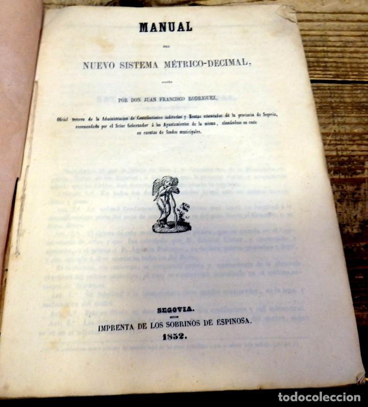 1852,MANUAL DEL NUEVO SISTEMA METRICO-DECIMAL,JUAN FRANCISCO RODRIGUEZ, SEGOVIA, 53 PAGINAS (Libros Antiguos, Raros y Curiosos - Ciencias, Manuales y Oficios - Física, Química y Matemáticas)