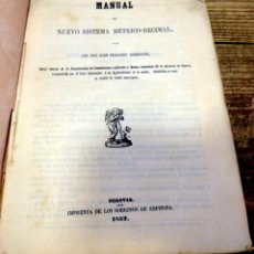 Libros antiguos: 1852,MANUAL DEL NUEVO SISTEMA METRICO-DECIMAL,JUAN FRANCISCO RODRIGUEZ, SEGOVIA, 53 PAGINAS. Lote 170177776
