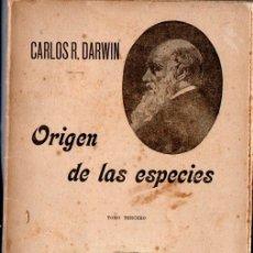Libros antiguos: DARWIN : ORIGEN DE LAS ESPECIES - TOMO III (SEMPERE, S.F.). Lote 171218040