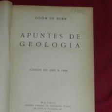 Libros antiguos: (MF) ODÓN DE BUEN - APUNTES DE GEOLOGIA CURSO 1922 - 1923 , MADRID 1922, 574 PAG. ENC, MEDIA PIEL. Lote 172074310