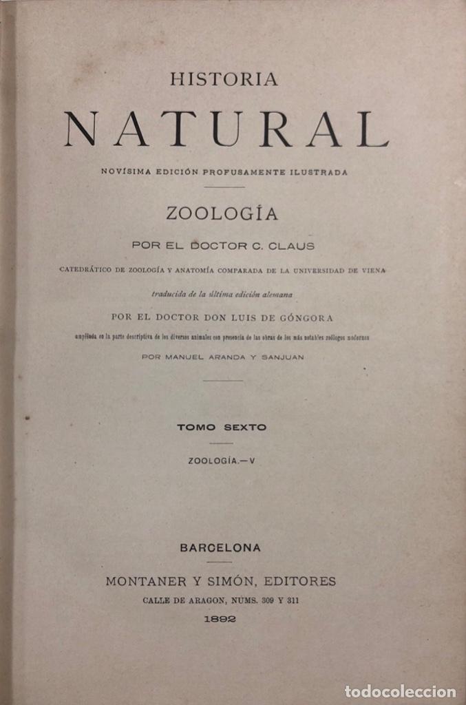 ZOOLOGIA. HISTORIA NATURAL. DOCTOR C. CLAUS. TOMO SEXTO. BARCELONA, 1892. PAGINAS: 334 (Libros Antiguos, Raros y Curiosos - Ciencias, Manuales y Oficios - Bilogía y Botánica)