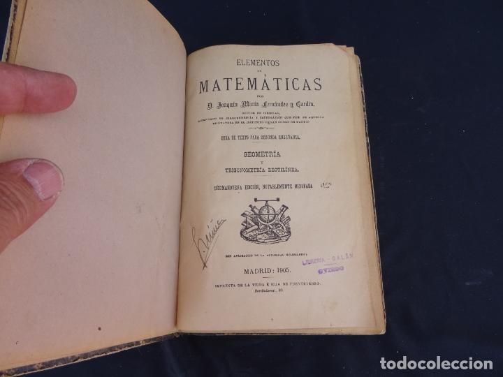 AÑO: 1905. ELEMENTOS DE MATEMATICAS.GEOMETRIA.TRIGONOMETRIA. MADRID. OVIEDO (Libros Antiguos, Raros y Curiosos - Ciencias, Manuales y Oficios - Física, Química y Matemáticas)
