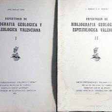 Libros antiguos: BIBLIOGRAFÍA... VALENCIA. GEOLOGÍA, ESPELEOLOGÍA. (GRUPO VILANOVA Y PIERA) 2 TOMOS COMPLETO. Lote 174439839